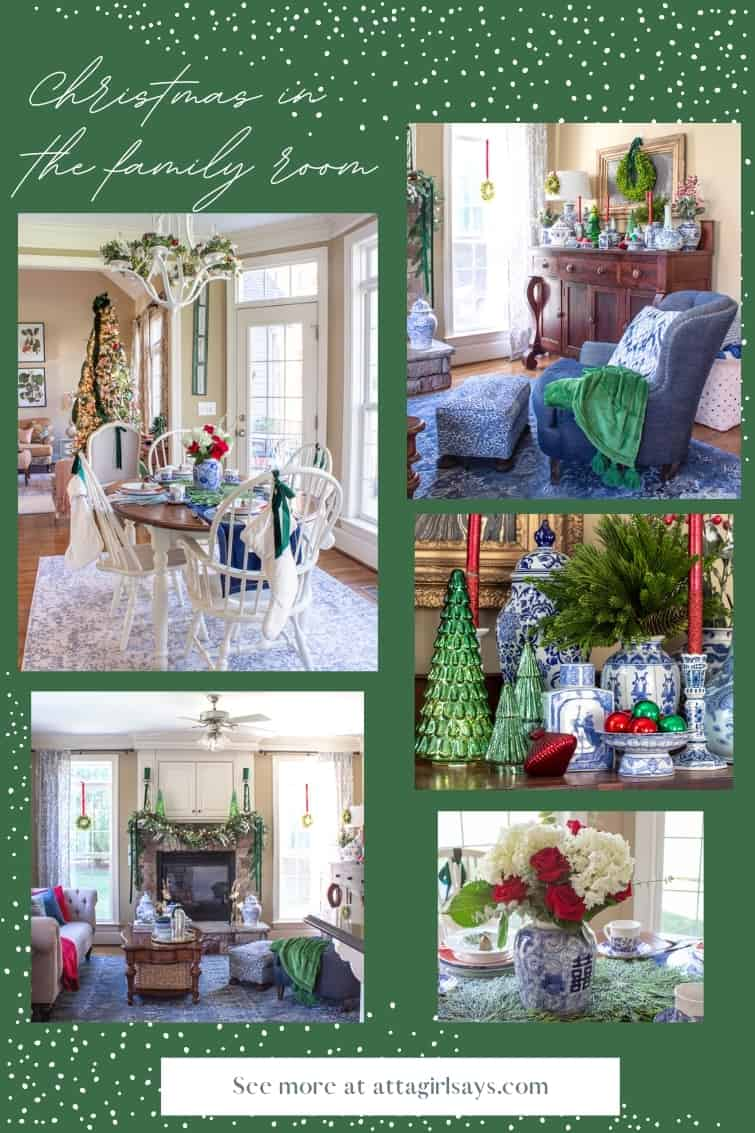 collage photo of a keeping room decorted for Christmas