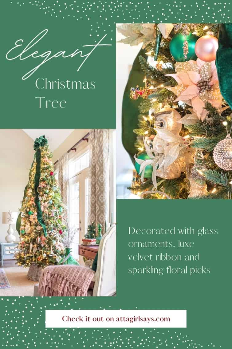 photo graphic showing an elegant Christmas tree decorated with velvet ribbon and glass ornaments
