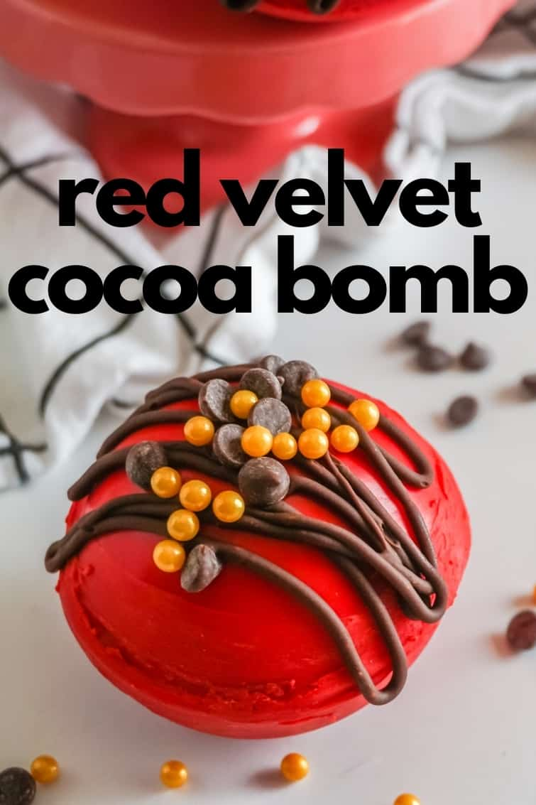 captioned photo of a red velvet hot candy filled with hot cocoa