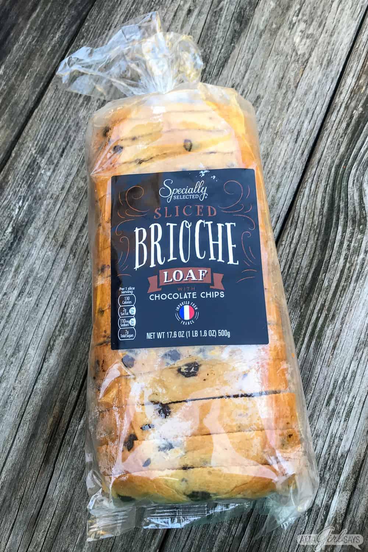 loaf of Aldi chocolate chip brioche bread