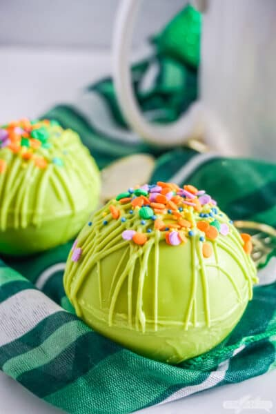 green hot cocoa bomb