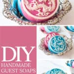 collage showing pink and white and blue and white Chinese dragon soap bars