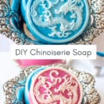 pink and white and blue and white chinoiserie soap bars