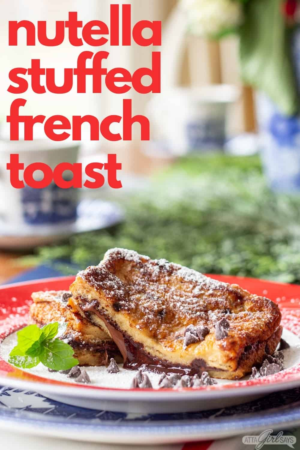 chocolate french toast stuffed with hazelnut spread on a red rimmed plate