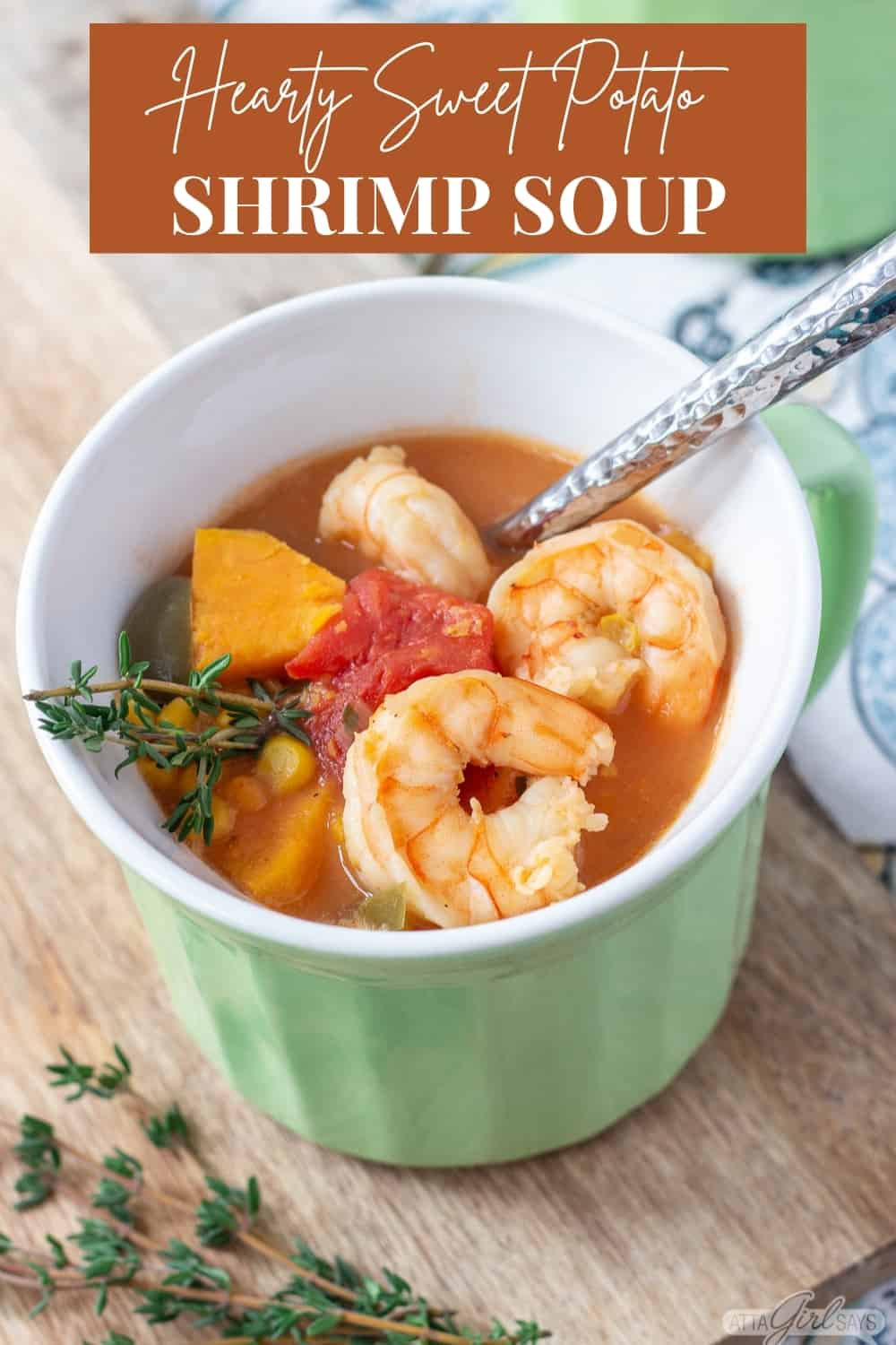 bowl of shrimp soup with text overlay