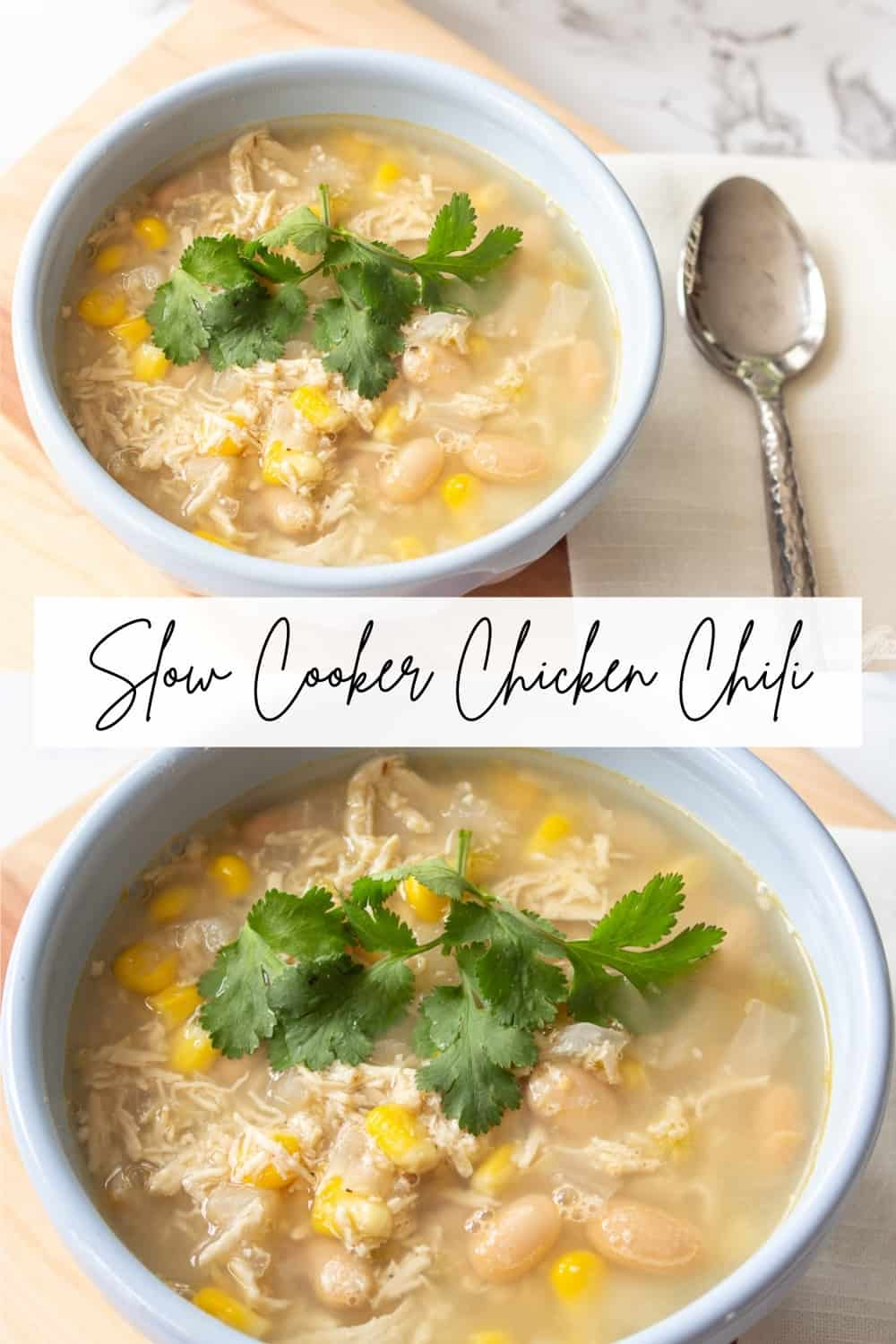 collage photo showing two bowls of chicken bean chili