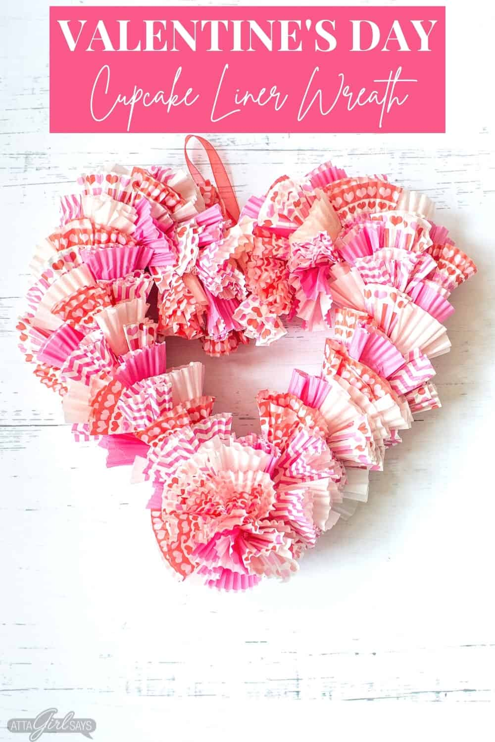 heart shaped wreath made from Valentine's Day cupcake liners