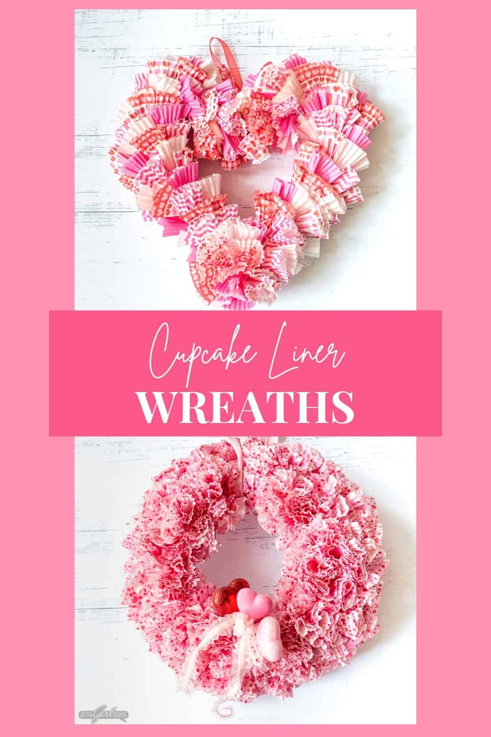 collage photo showing a round and heart shaped wreath made from cupcake liners