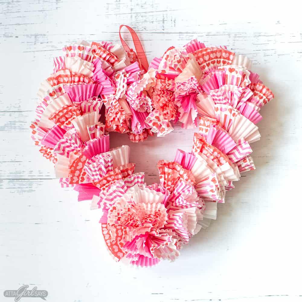 Heart Cupcake Liner Wreath