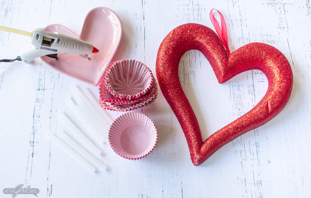 heart plate, cupcake liners and heart shaped wreath form to make a Valentine's Day wreath