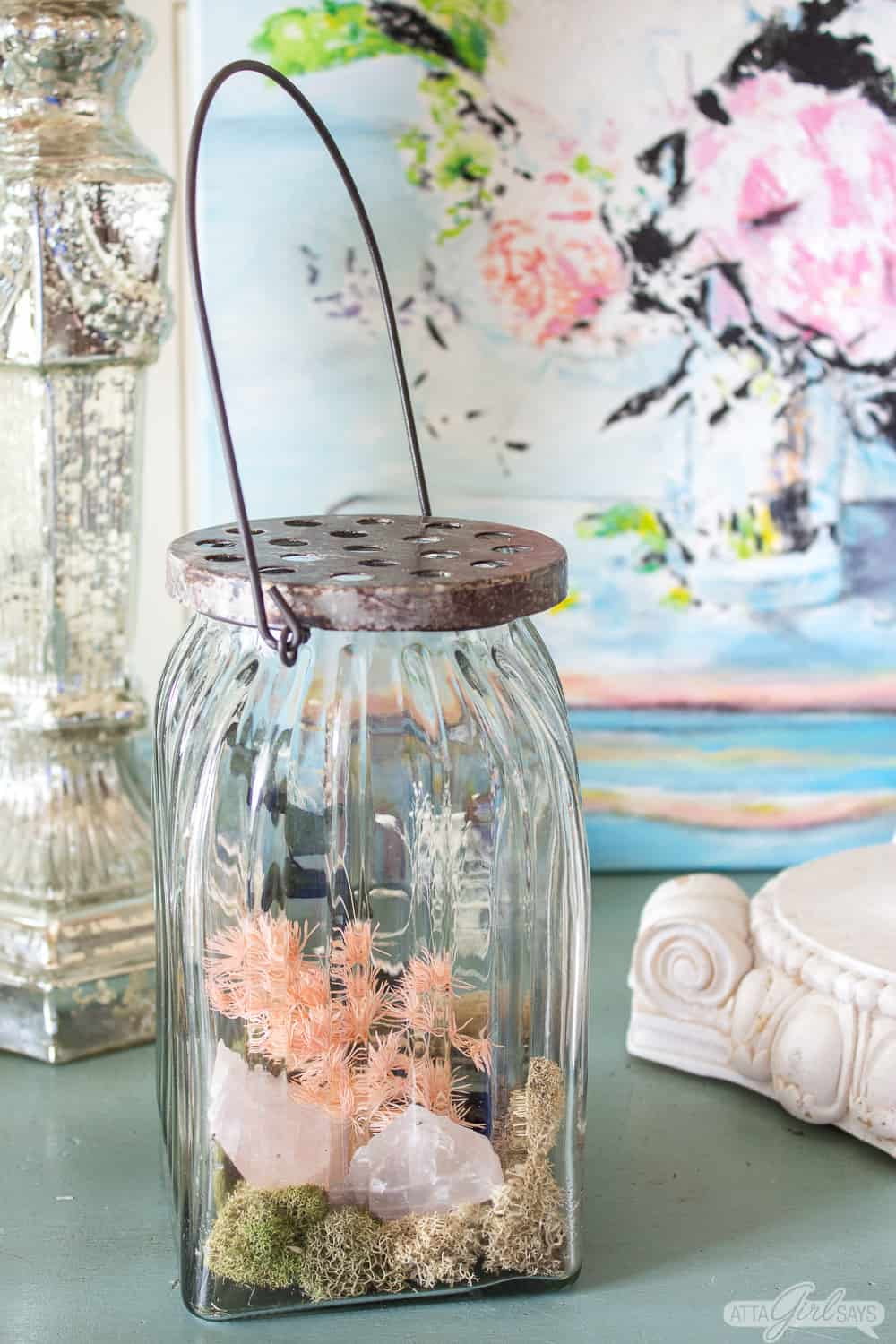 glass jar filled with homemade potpourri made from scented dried botanicals