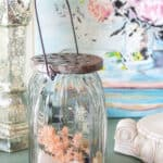 glass jar filled with scented dried botanicals