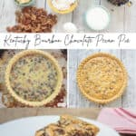 collage photo with baking ingredients and a chocolate pecan pie