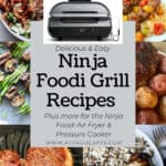 collage showing six different recipes cooked on the Ninja Foodi Grill