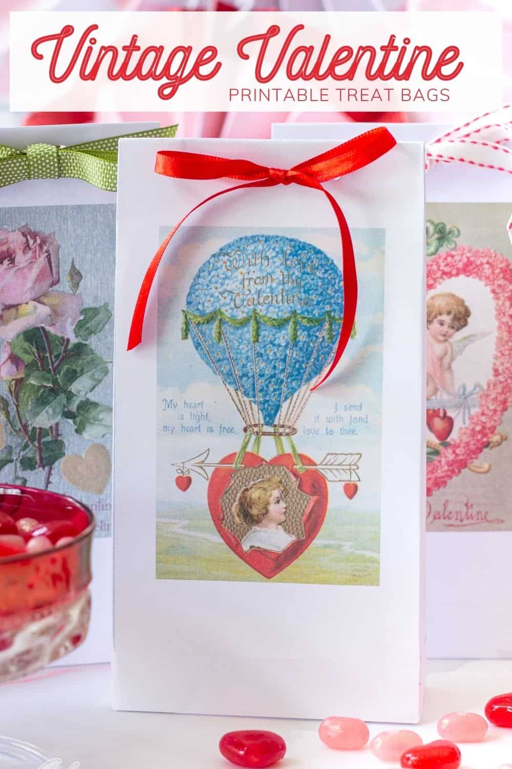 vintage valentine treat bag tied with ribbon