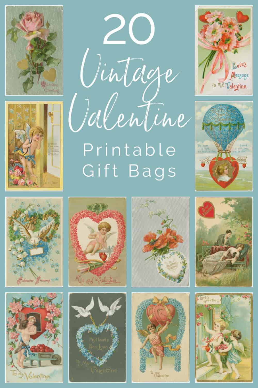 collage of vintage valentine bags