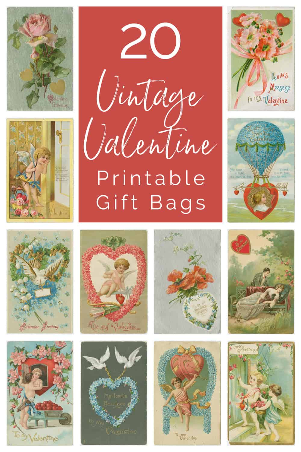 collage of vintage valentine bags