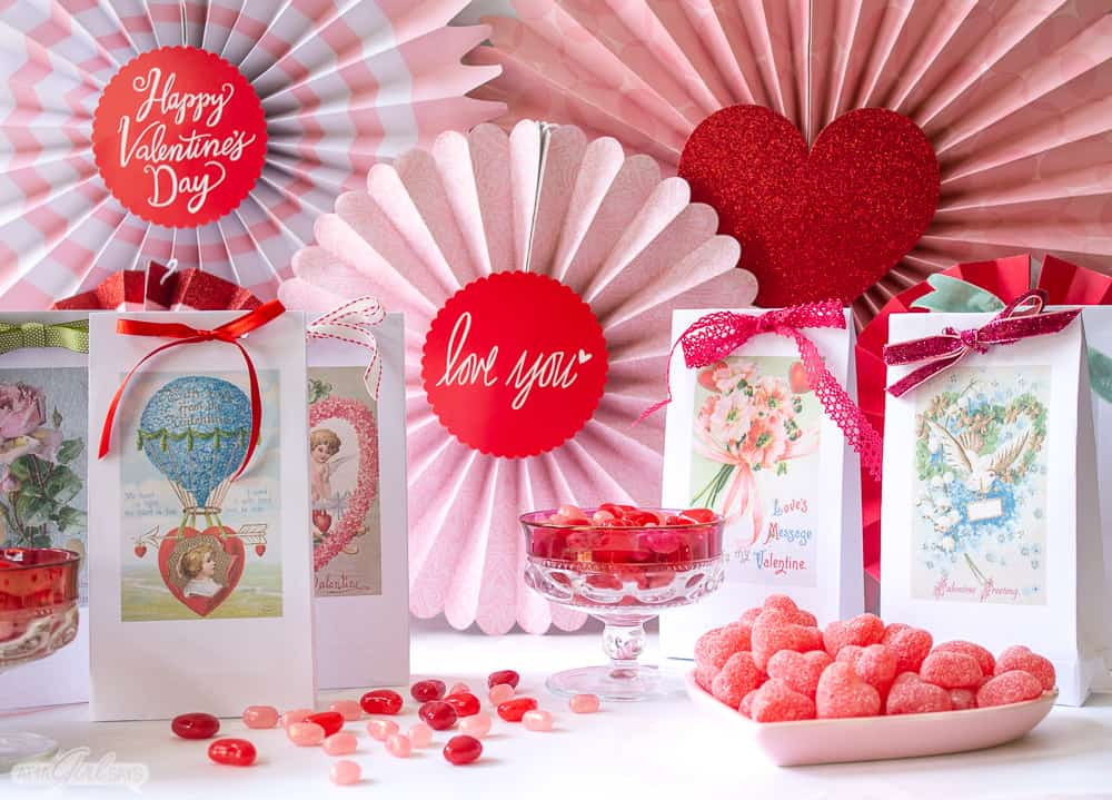 candy and vintage Valentine's Day treat bags with a backdrop of Valentine's Day banners