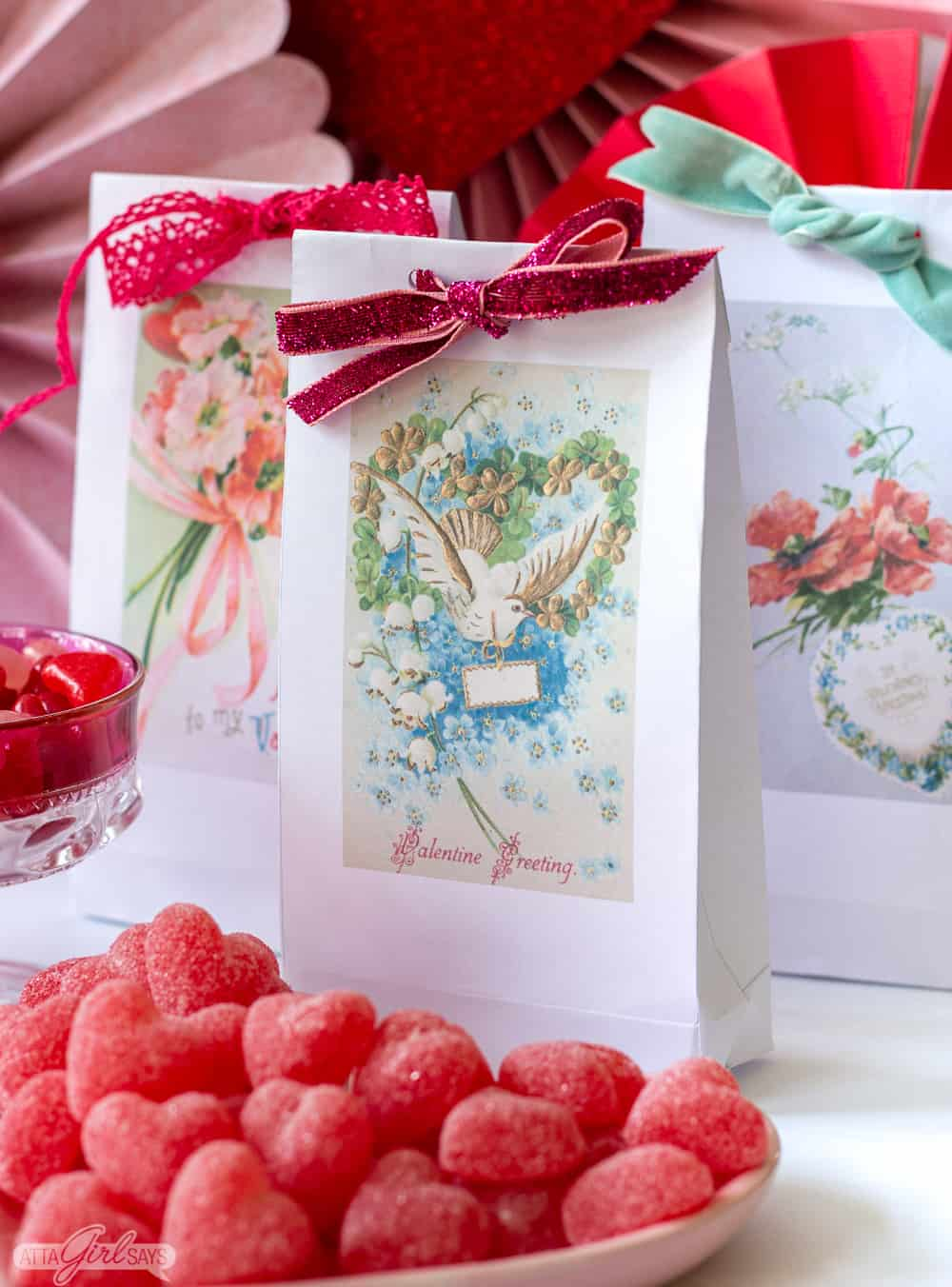 vintage postcard Valentine bags with tied with ribbon