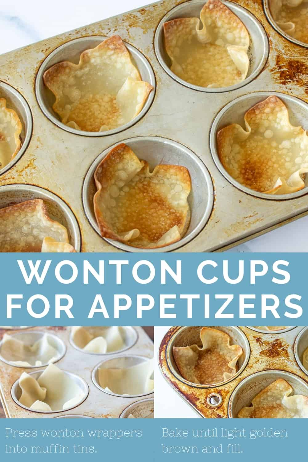 three photos of unbaked and baked wonton wrappers in a muffin pan