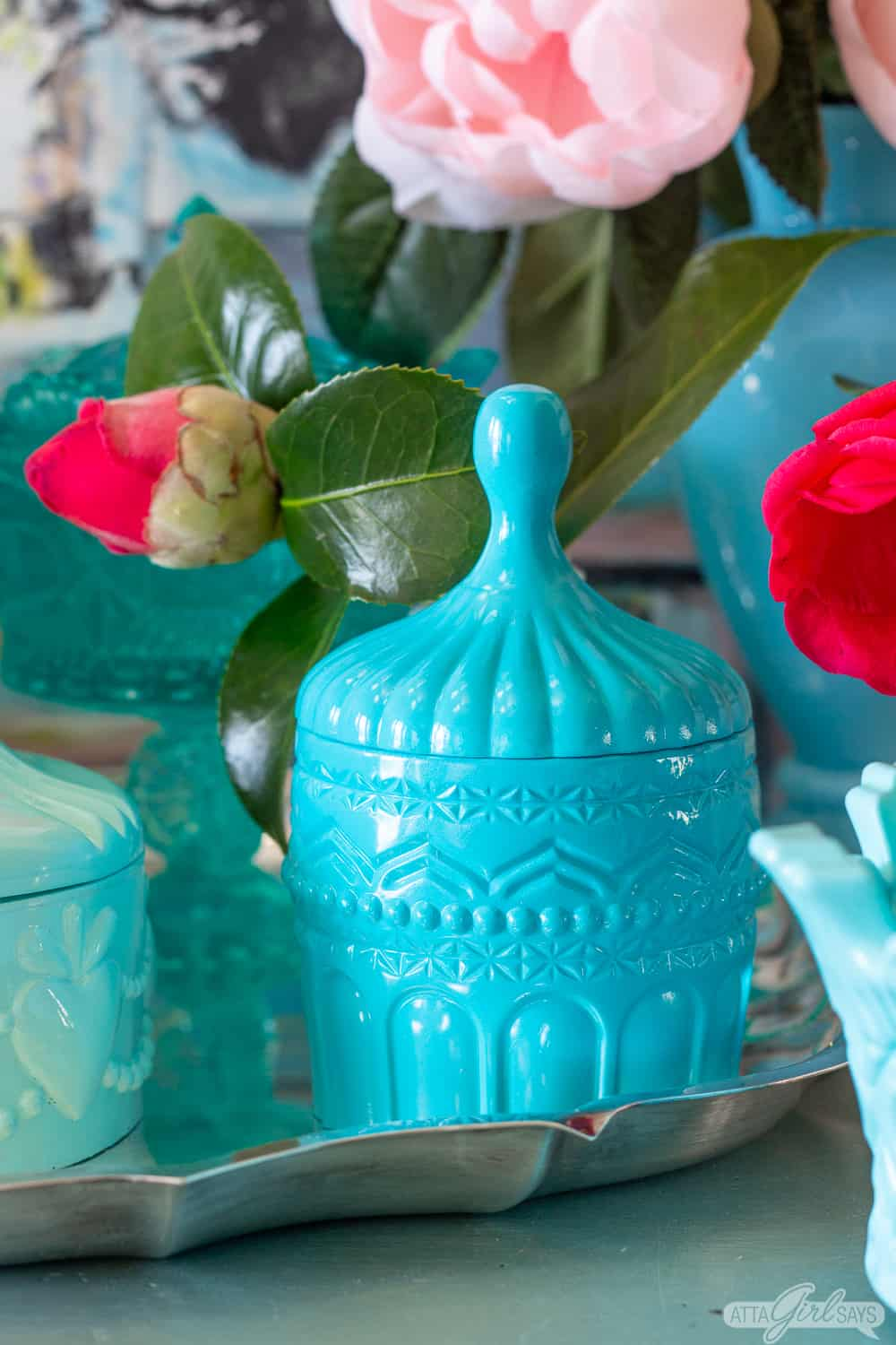 aqua blue resin candy dish inspired by Portieux Vallerysthal