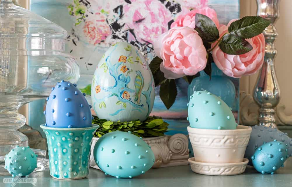 hobnail Easter eggs with vintage McCoy pottery and pink peonies in a blue opaline vase