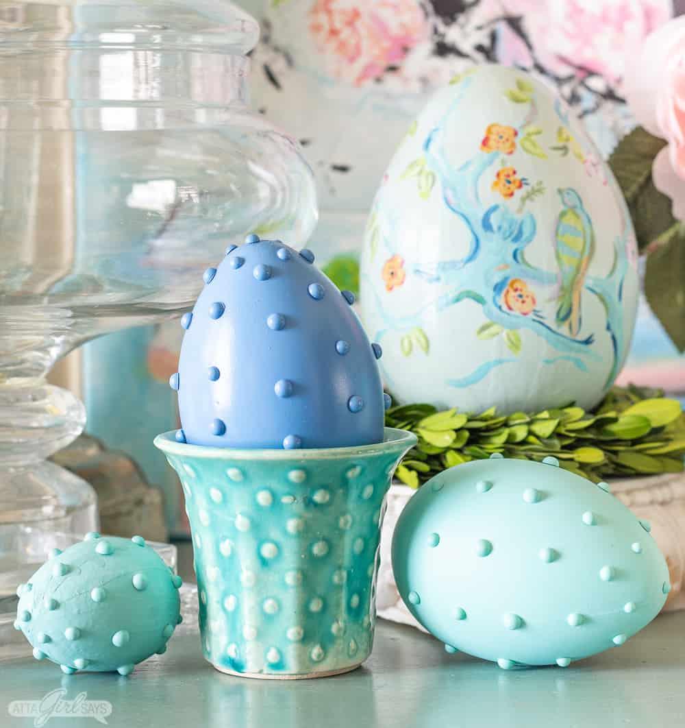 patel Easter eggs and vintage McCoy hobnail pottery