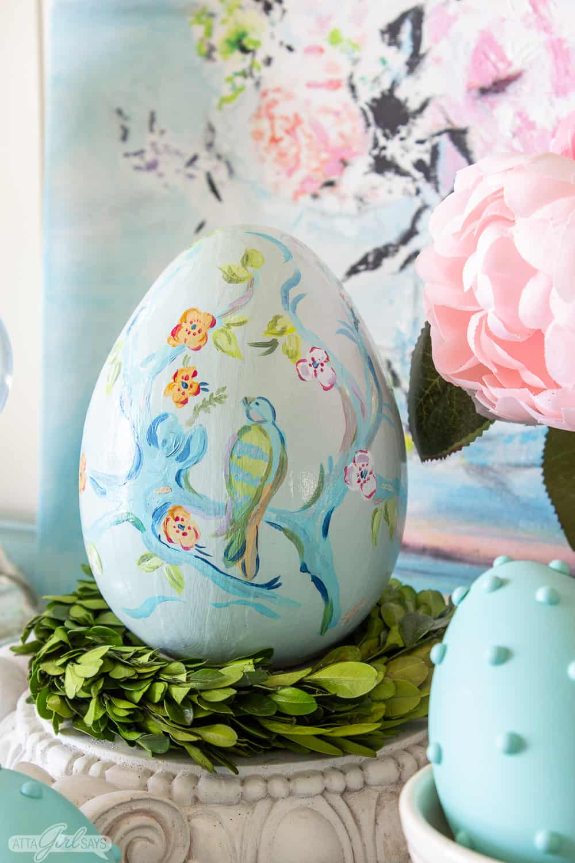 handpainted pastel chinoiserie Easter egg