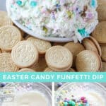 collage photo of Easter candy funfetti dip with Oreo cookies