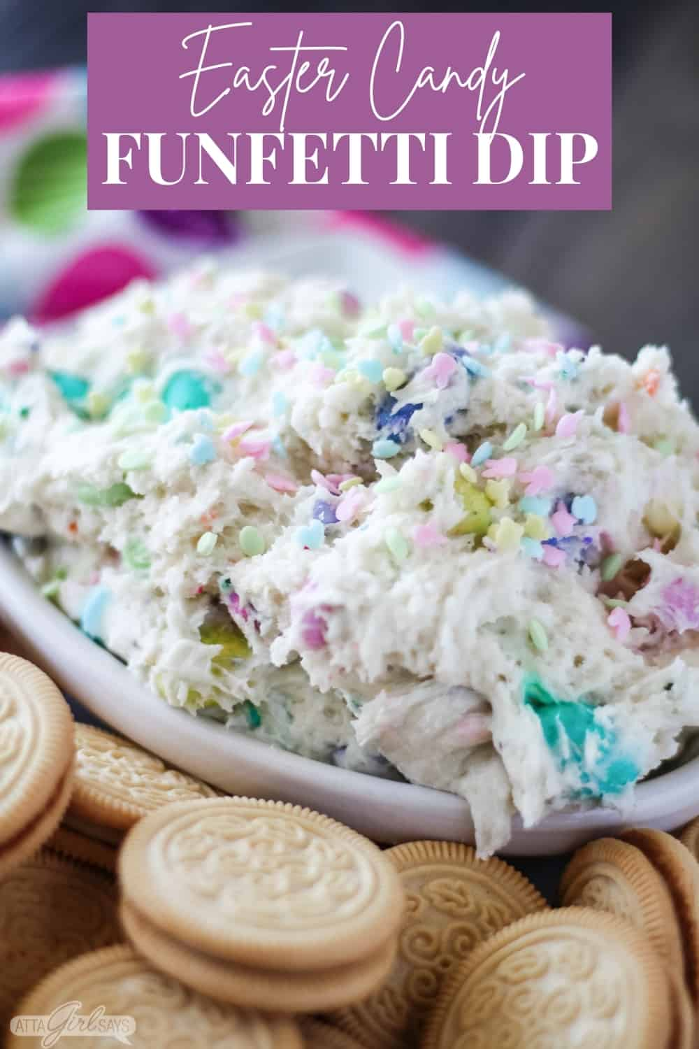 Easter candy dip with golden Oreo cookies