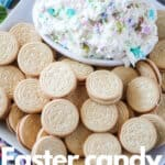 bowl of Easter candy cookie dip with Golden Oreo cookies