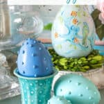 hobnail Easter eggs displayed with vintage McCoy pottery and a handpainted chinoiserie Easter egg