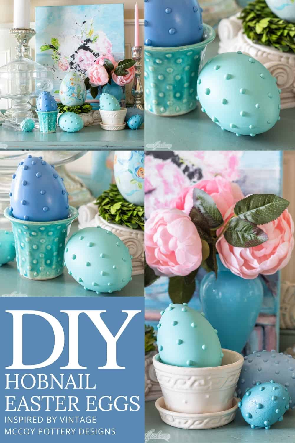 collage photos of pastel Easter eggs with vintage McCoy pottery