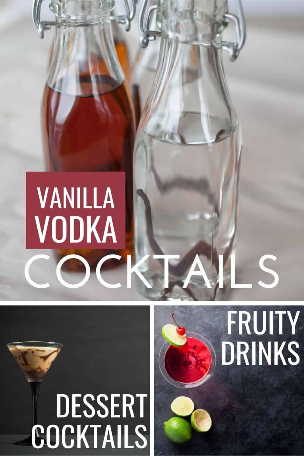 collage photo showing a bottle of vanilla infused vodka, a chocolate martini and a cosmopolitan cocktail