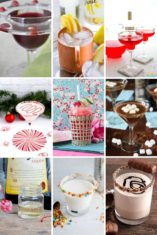 collage showing 9 different vanilla vodka drink recipes