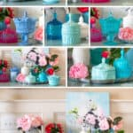 collage photo showing faux vintage milk glass candy dishes made out of resin