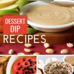 collage with 3 desserts dips in bowls