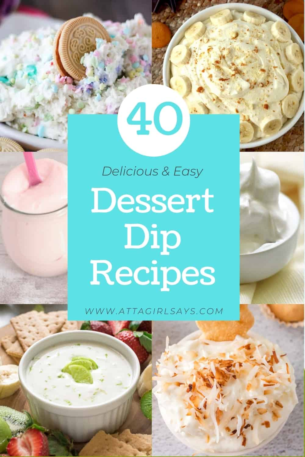 collage of six different dessert dips