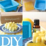 lemon and sunflower shaped soap on a plate with a soap mold and essential oil