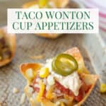 tray of wonton taco appetizers