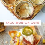 collage of wonton cups filled and unfilled