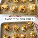 collage photo of unbaked and baked taco cup appetizers