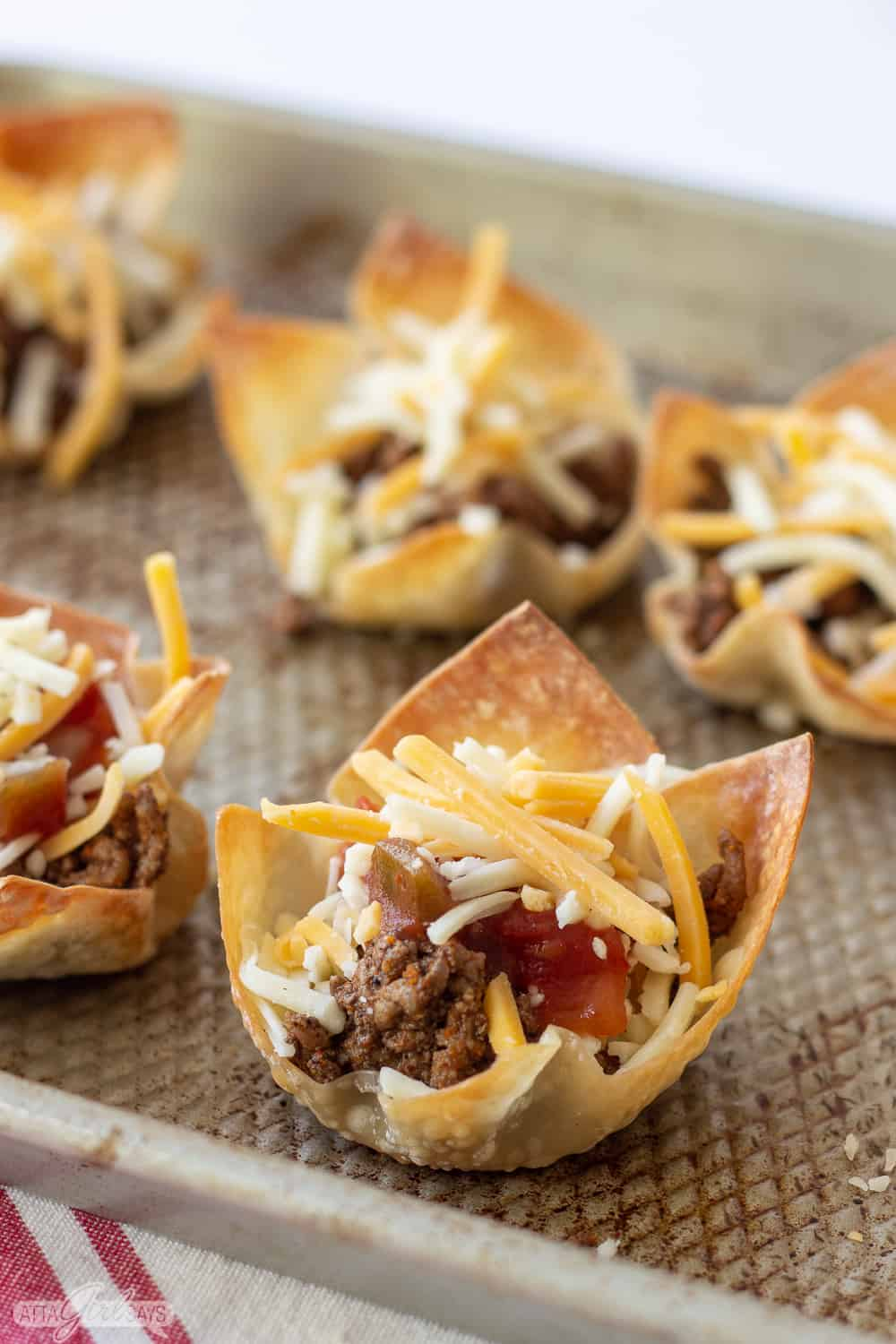 meat, salsa and cheese taco wonton cups