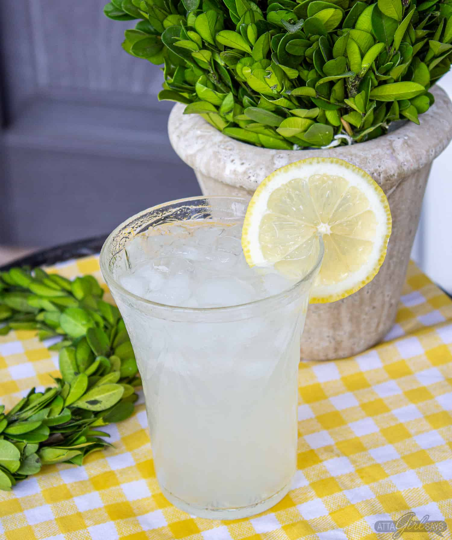 lemonade on a side table on a front porch
