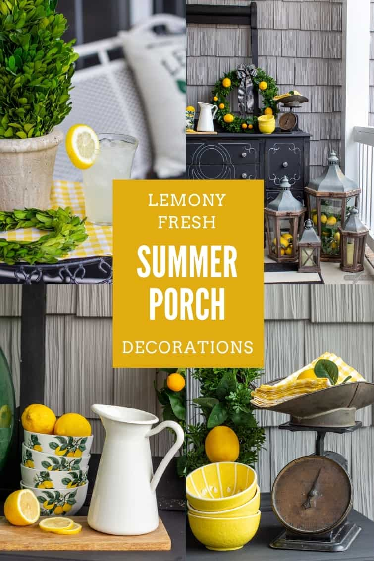 collage photo of a black and white front porch with lemon yellow and boxwood green accents and other summer porch decor