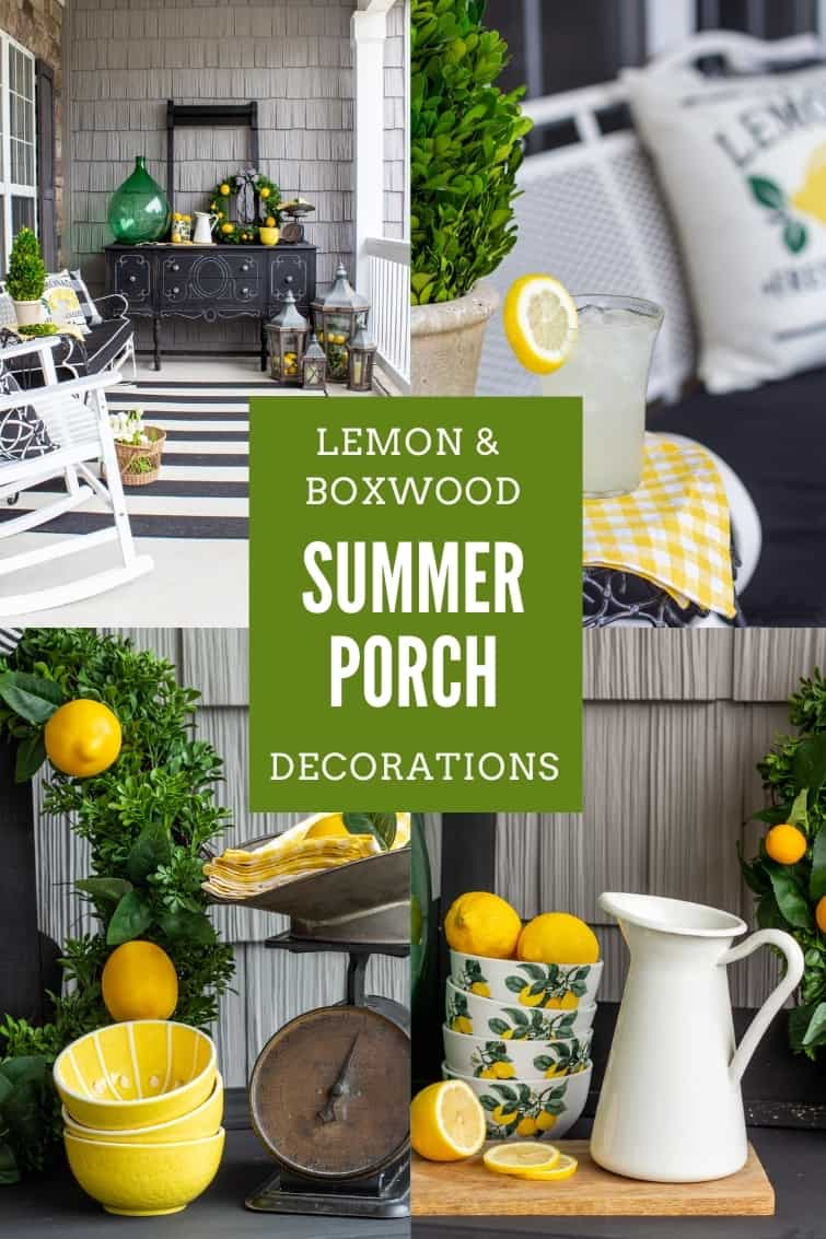 collage photo of a black and white front porch with lemon yellow and boxwood green accents