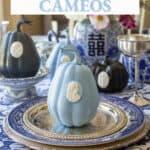 blue pumpkin with skeleton cameo design