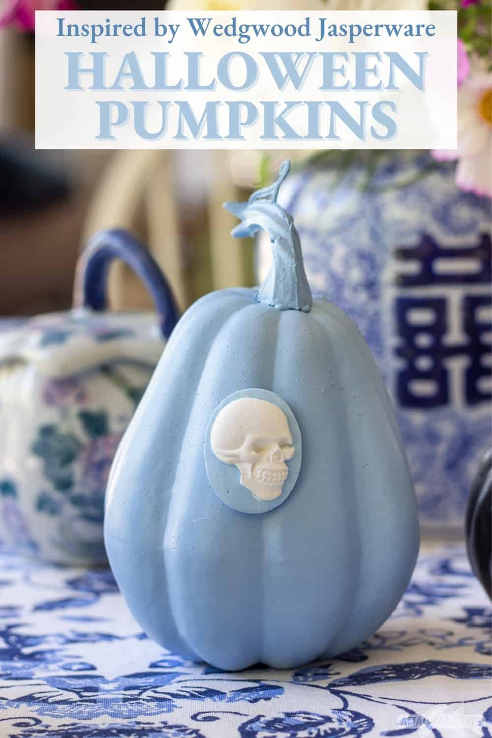 blue and white Wedgwood Jasperware style pumpkin with a skull cameo