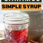 jar of caramel coffee syrup with text overlay