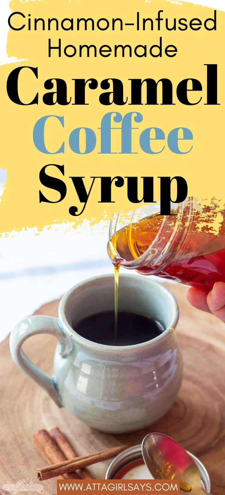 pouring caramel syrup from a jar into a coffee mug